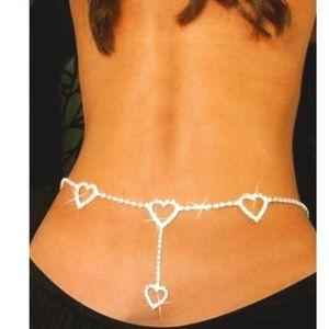 Jewelry - Silver Rhinestone Heart Waist Body Chain